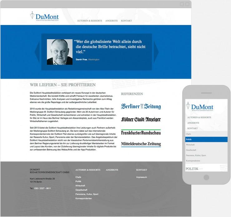 Screenshot der Webseite in Desktop- und Mobilgröße