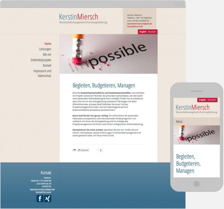 Screenshots der Startseite auf verschiedenen Display Größen