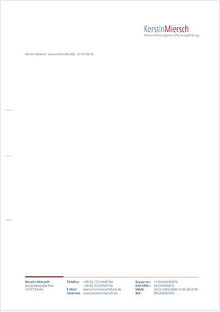 Abbildung des Briefbogens mit Wortmarke und Kontaktdaten