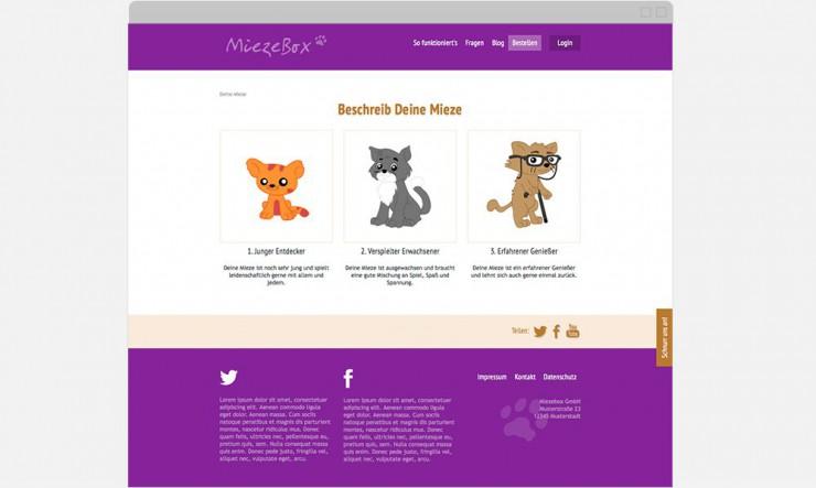 Screenshot Auswahlseite