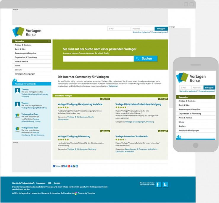 Screenshot der Startseite auf Desktop und Mobile Screen