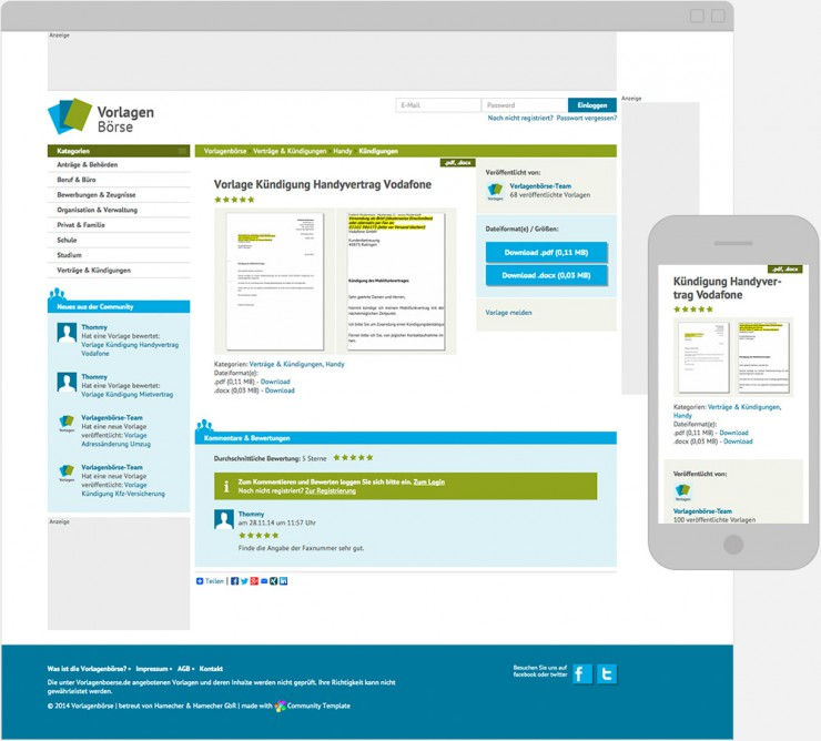Screenshot einer Unterseite für die Vorlage zur Kündigung des Handyvertrages