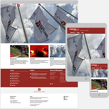 Screenshot Sportpark Webseite