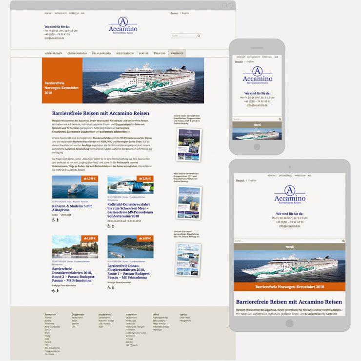 Screenshots der barrierefreien Webseite auf verschiedenen Geräten
