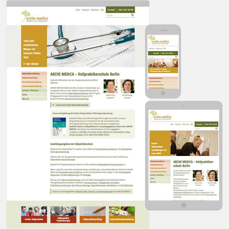 Screenshots des umgesetzten WordPress Themes der Heilpraktikerschule ARCHE MEDICA auf verschiedenen Geräten